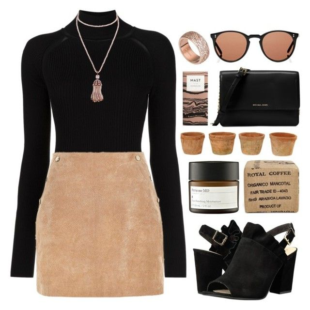 """""""Long Black"""" by vip-beauty ❤ liked on Polyvore featuring Misha Nonoo, Seychelles, Michael Kors, Gus* Modern, Perricone MD, Oliver Peoples and FOSSIL"""