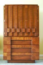 Mid Century LANE BRUTALIST Highboy/Armoire. Paul Evans Inspired. Stunning. Rare