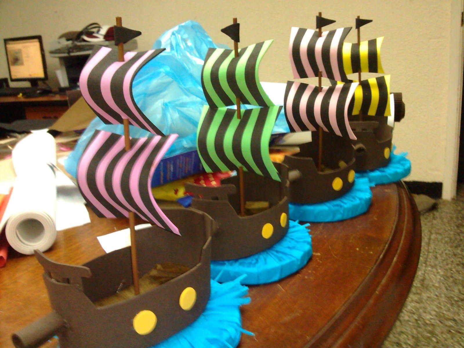 ADas de foami: Barcos piratas - Fiesta pirata - Centro de mesa ...