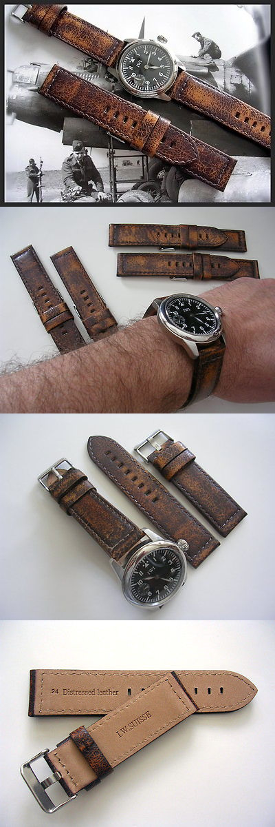 86efd63f239a9 Wristwatch Bands 98624  22Mm Distressed Vintage Antique Aged Mil Bomber  Pilot Watch Band Strap Iw Suisse -  BUY IT NOW ONLY   34.95 on eBay!