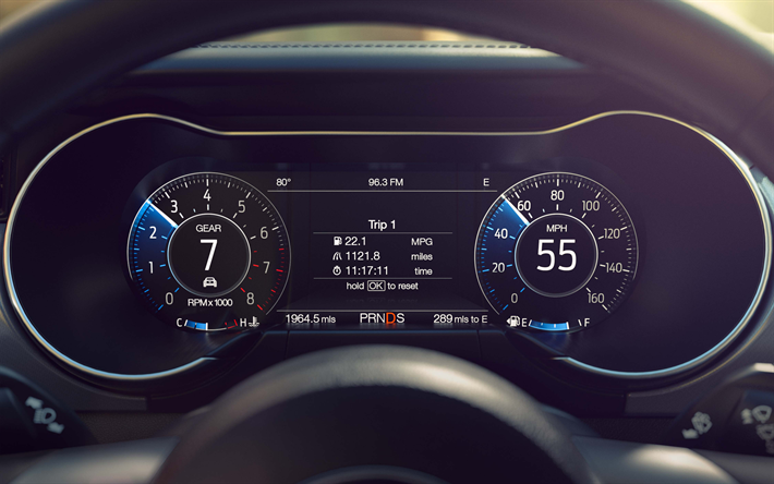 Download wallpapers Ford Mustang, 2018, dashboard, modern