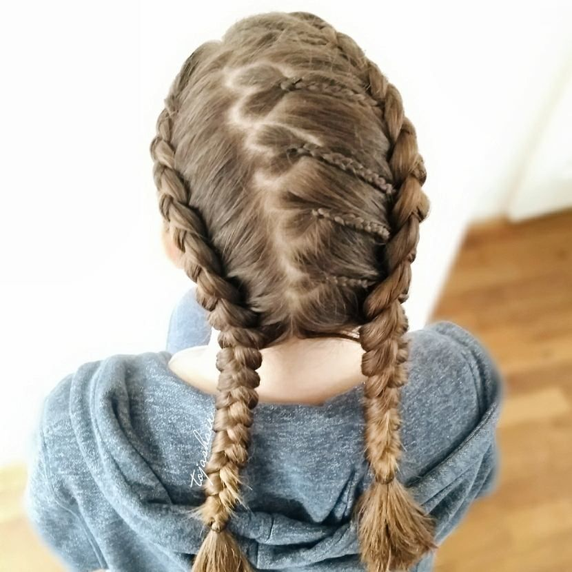 263 Likes  14 Comments   Little Girl Hairstyles     263 Likes  14 Comments   Little Girl Hairstyles   braidsforlittlegirls  on  Instagram     Cute elastics and wrap around braid style  credit   luv that