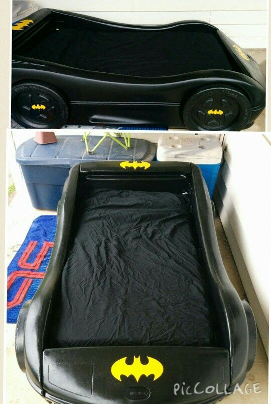 Bat Mobile Bed We Turned A Little Tykes Blue Race Car Into The Took 5 Cans Of Krylon Spray Paint For Plastics And Ordered D