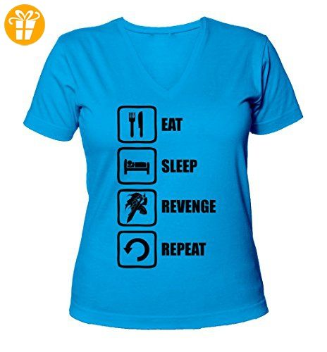 Eat Sleep Revenge Repeat Berserk Graphic Women's V-Neck T-Shirt XX-Large (*Partner-Link)