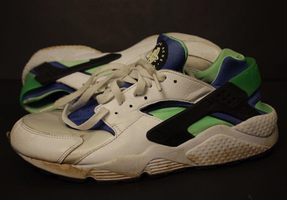 Nike Air Huarache Sneakers Shoes Sz 12 Scream Green Blue White 318429 100   Nike  AthleticSneakers 4ba1f18c8