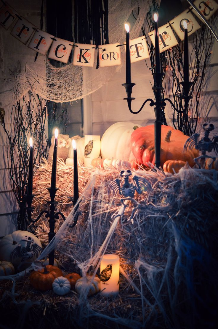 Welcome to our haunted house! Haunted houses, House and Halloween - Front Door Halloween Decoration Ideas