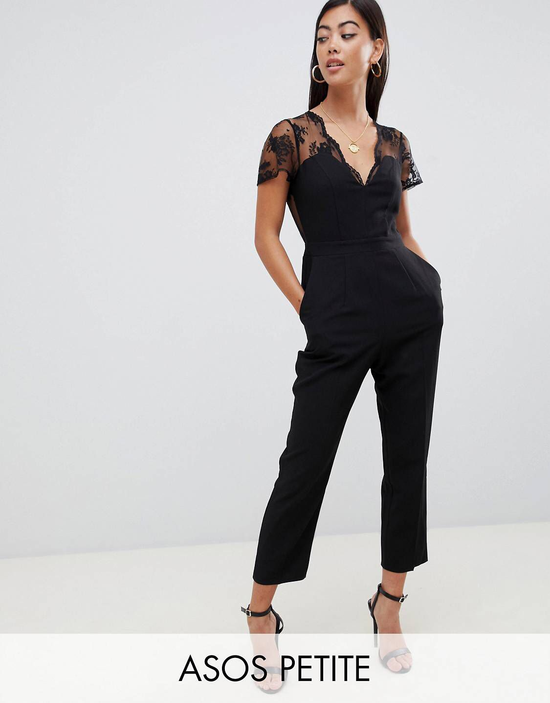 b32711e13a DESIGN Petite jumpsuit with lace detail   tapered leg in 2019 ...