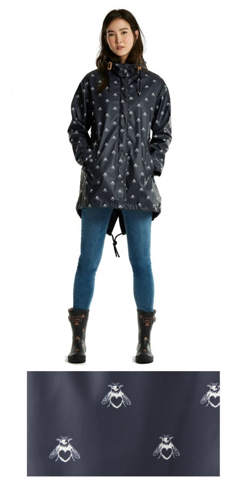 Joules Mistralprint Rubber Womens Parka. Parka style. Rubberised fabric.  Peaked hood. Full