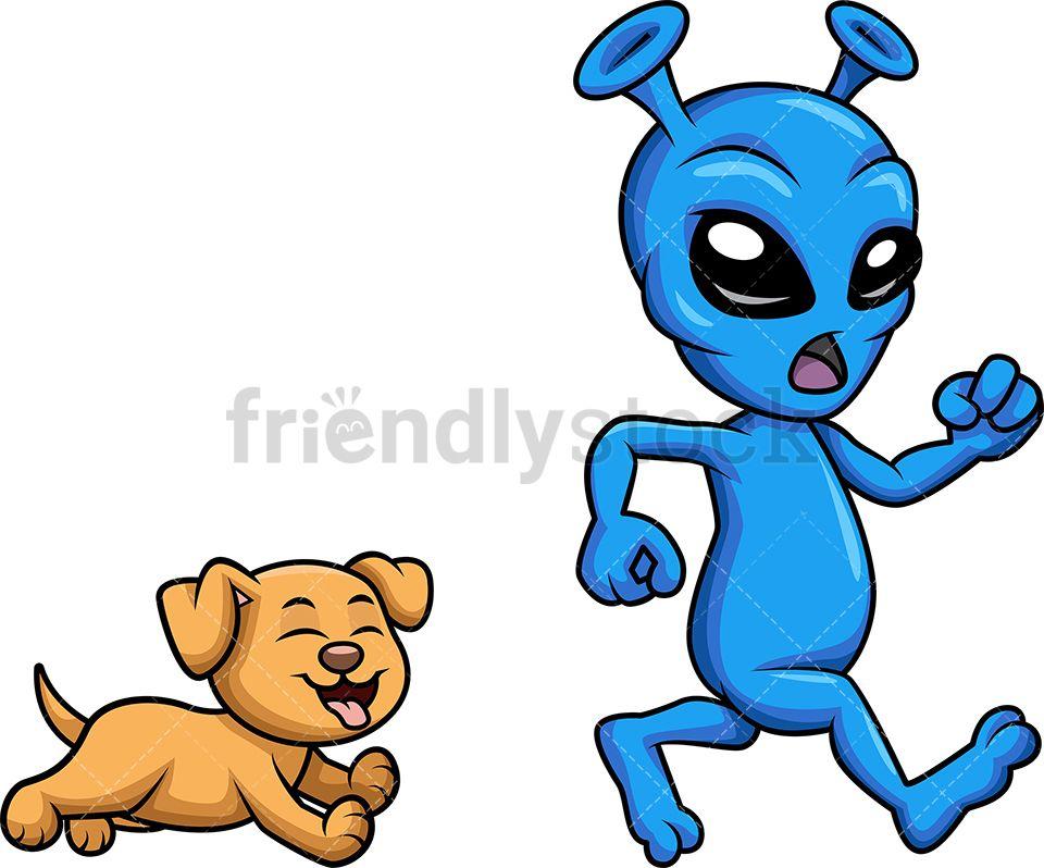 Scared Alien Running From Dog Cartoon Vector Clipart Friendlystock Cartoons Vector Cartoon Dog Vector Illustration