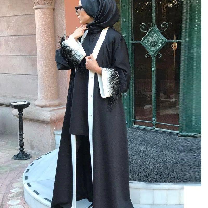 Elegant Abaya Muslim Dress Lace Palpus Islam Kaftan Jilbab Bangladesh Muslim Arab Worship Caftan Marocain Fashion Hijab Fashion Muslim Dress