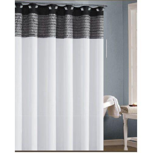 fabric shower curtain white black