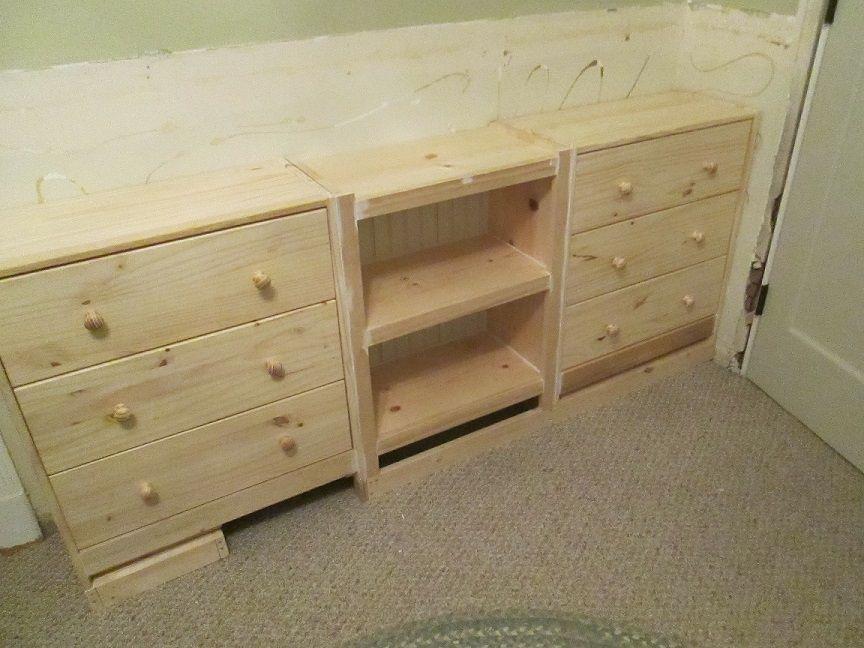 Wall Bookshelves With Ikea Rast Drawer Base Bookshelves Built In