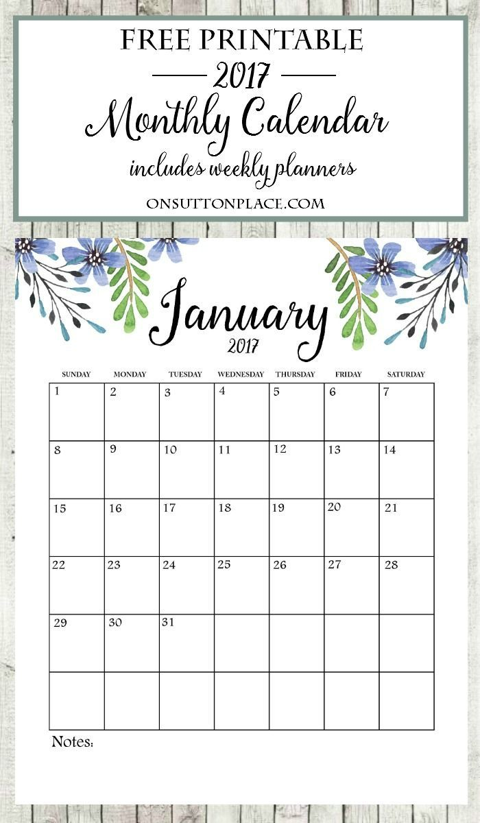 Free Printable Monthly Calendar  Free Printable Monthly