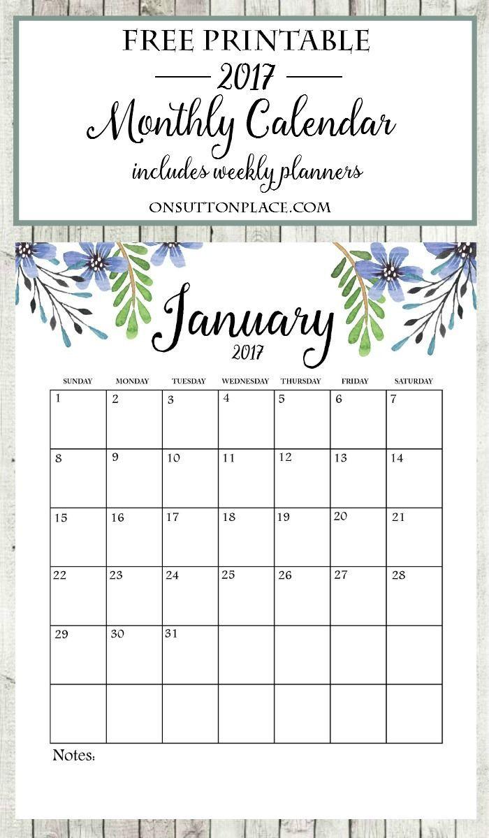 2017 Free Printable Monthly Calendar | Kalender, Deutsch und Deko