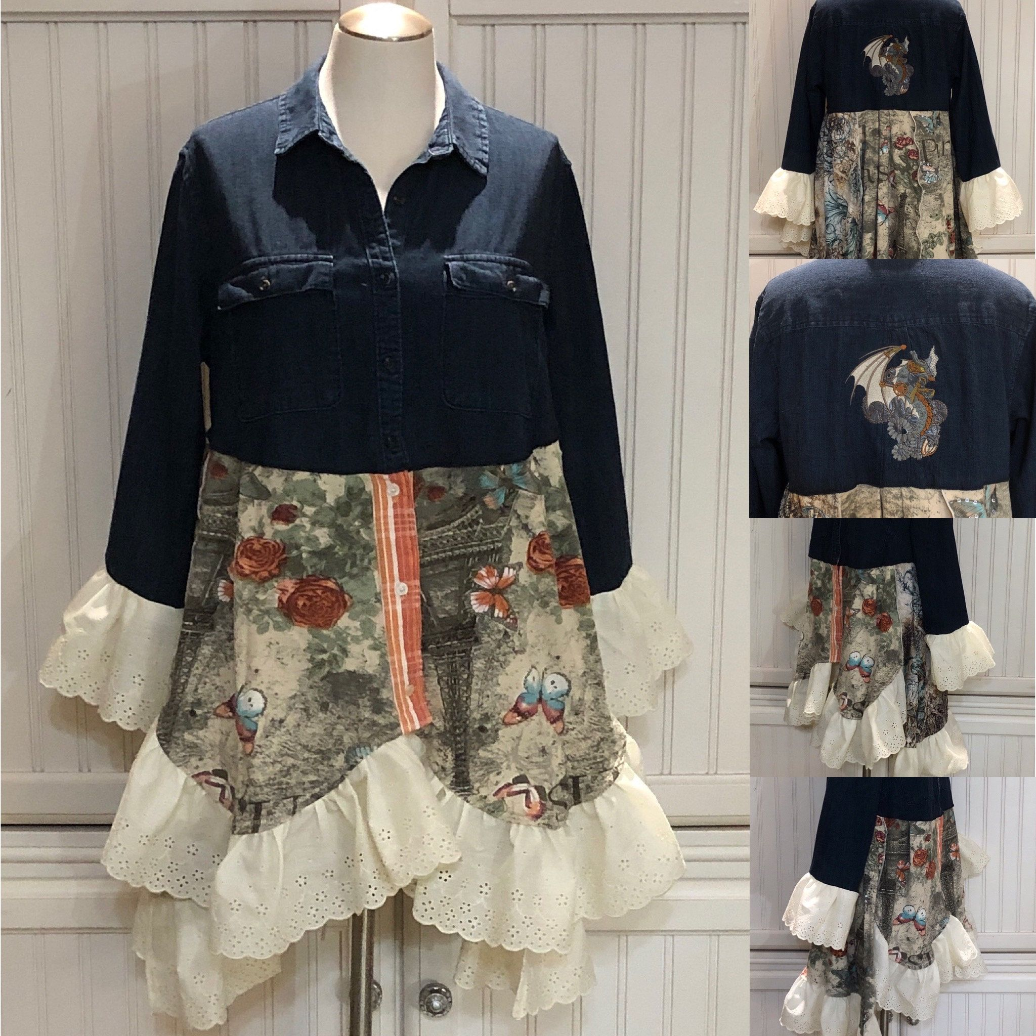 Womens denim duster upcycled denim jacket steampunk dragon embroidered Paris butterfly tee bling beige blue tee vintage eyelet lace ruffle