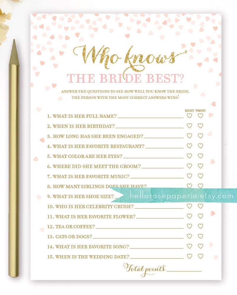 Who Knows the Bride Best . Pink and Gold Bridal Shower Game . Printable Instant Download . Hens Party . Bachelorette Game . Gold Glitter