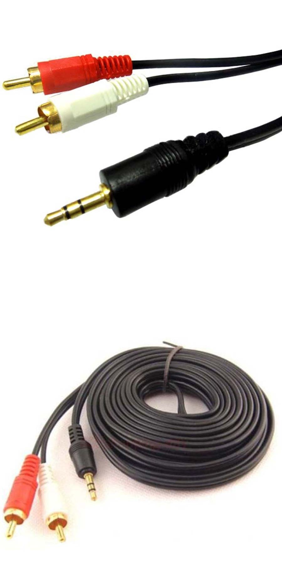 3M RCA Audio Video AV cables Aux 3.5mm Male Stereo Mini Jack to 2 ...