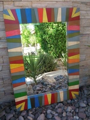 One Of A Kind Handpainted Mirror Frame By Ledgan1 On Etsy 800 00 Painting Mirror Frames Hand Painted Frames Mirror Frame Diy