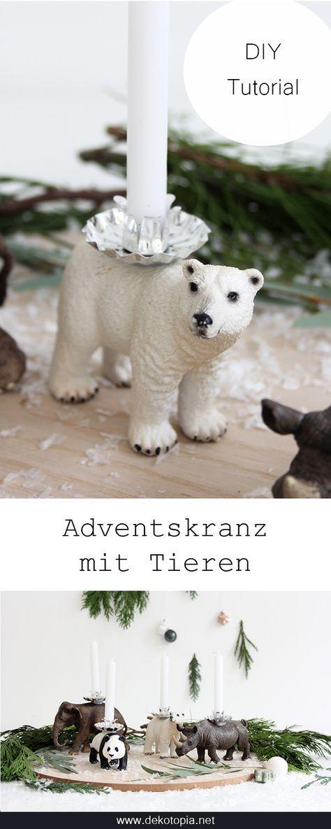 Adventskranz mit Tierfiguren - DIY Anleitung - dekotopia