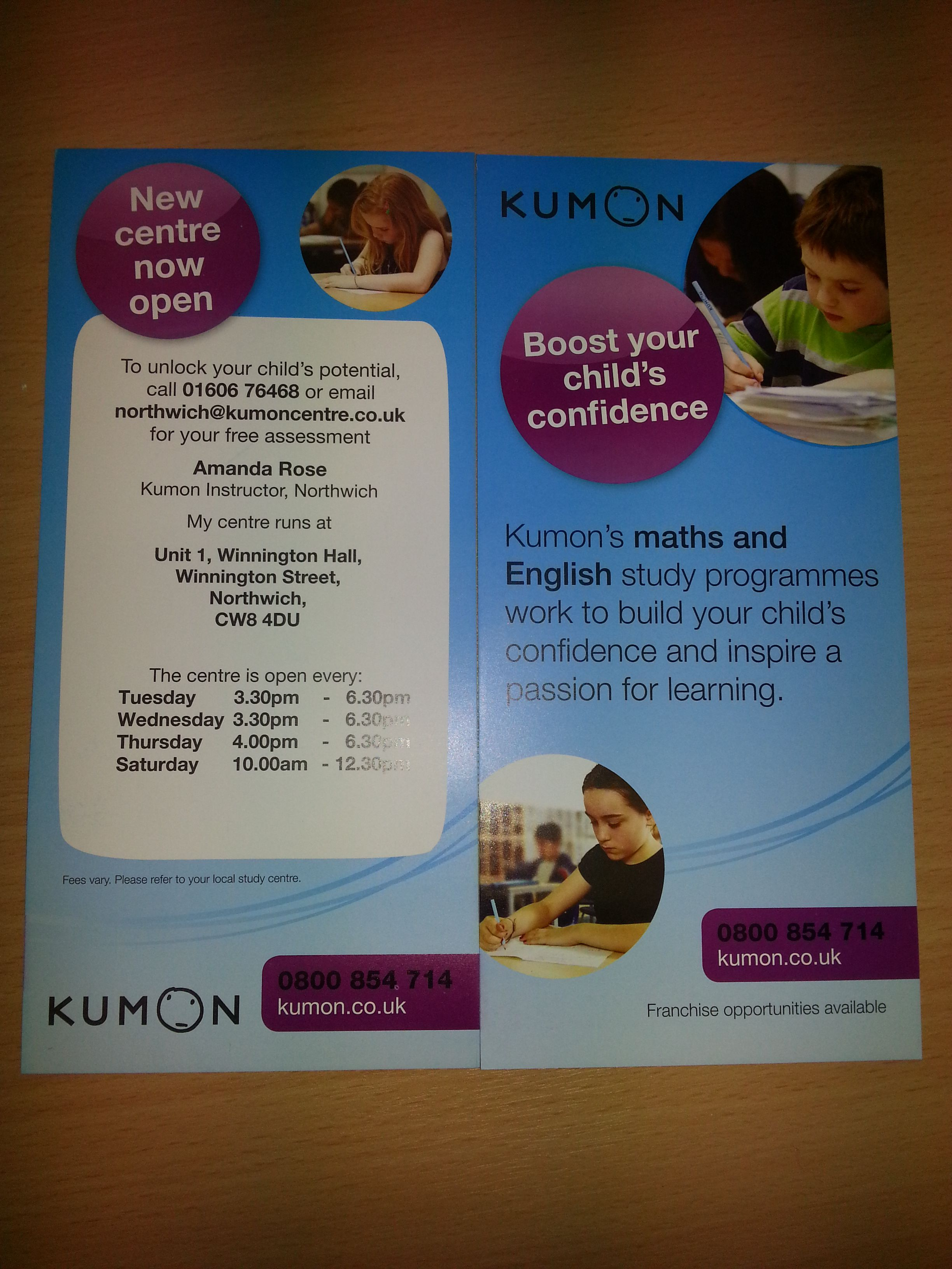 Opening times, address and contact details for #kumonnorthwich ...