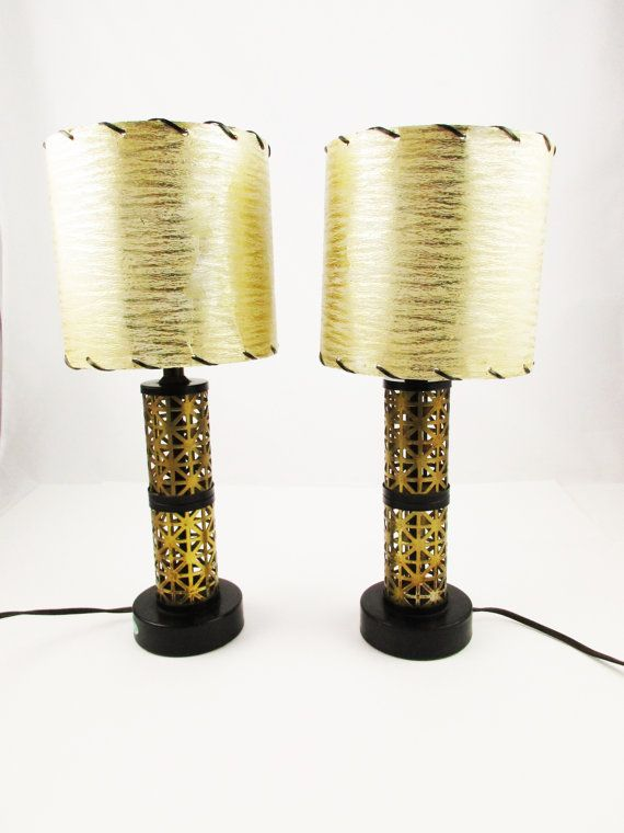 Mid Century Lamp Shades Extraordinary Two Midcentury Lamps  Accent Lamps In Burnished Gold Cutouts Decorating Design