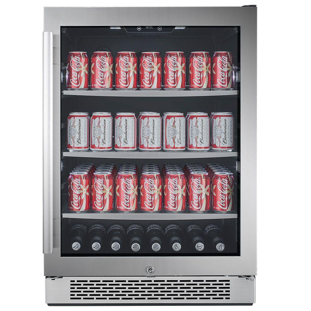 Avallon 152 Can 24 In Built In Beverage Cooler In Black And Stainless Steel Abr241sgrh The Home Dep Built In Beverage Cooler Beverage Center Beverage Cooler