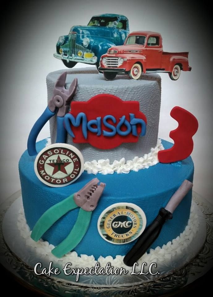 Vintage Garage themed Birthday Cake with Old Trucks Baby H