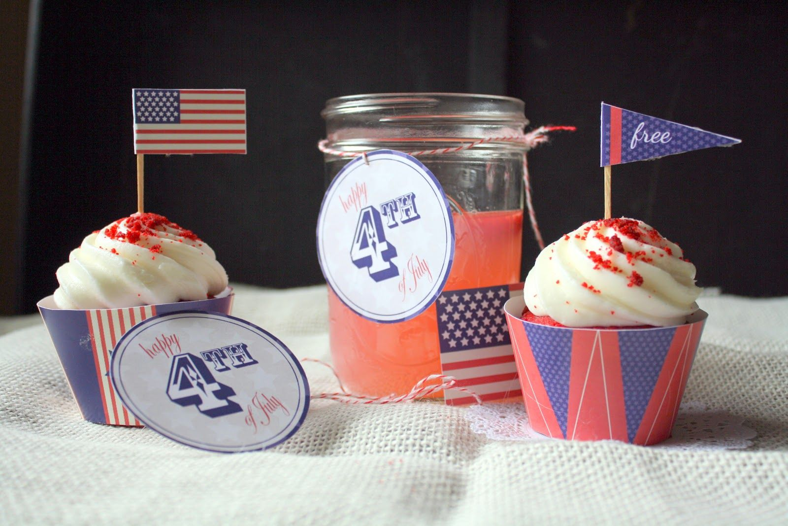 {the letter 4} 4th of July Party FREE Printables! Party invitations, cupcake liners, cupcake toppers and more! #4thofJuly #party