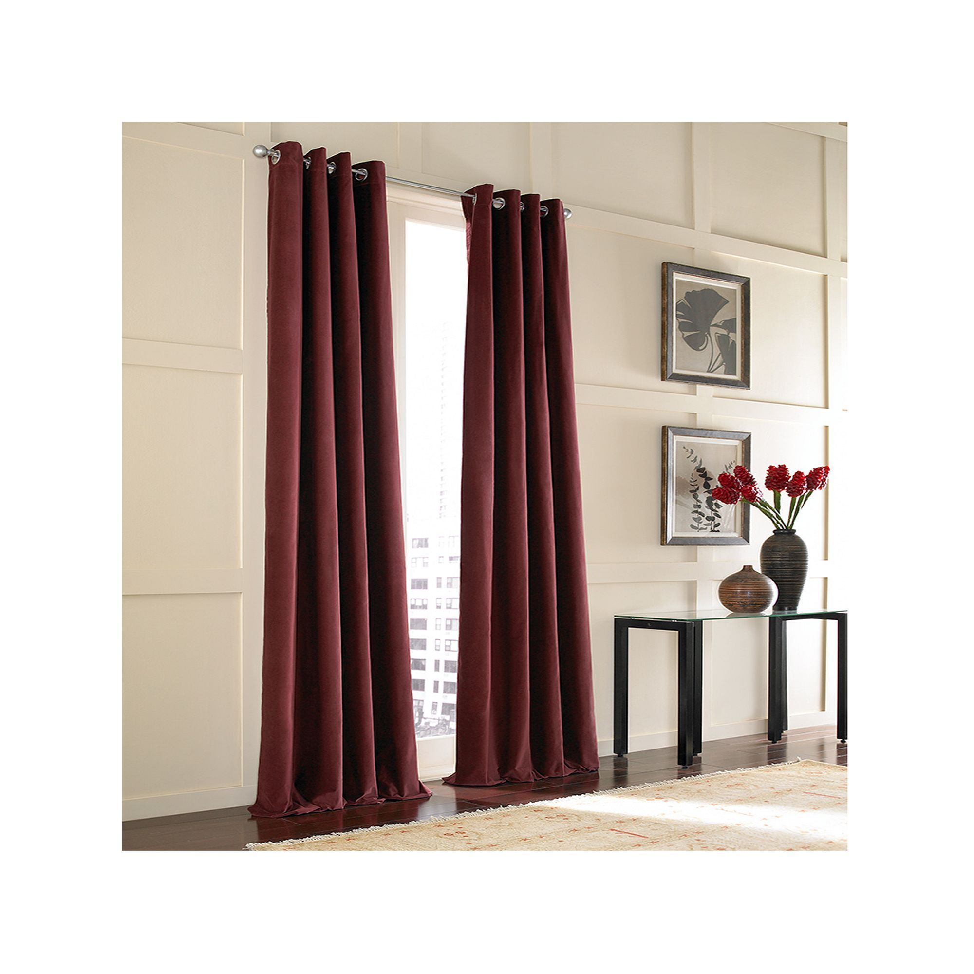 Window Curtainworks 1 Panel Messina Lined Window Curtain Red