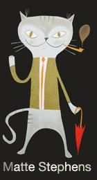A cat with a pipe.