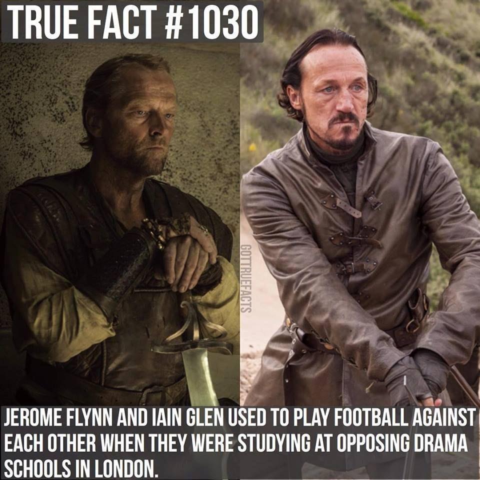 Iain Glen as Jorah Mormont and Jerome Flynn as Bronn