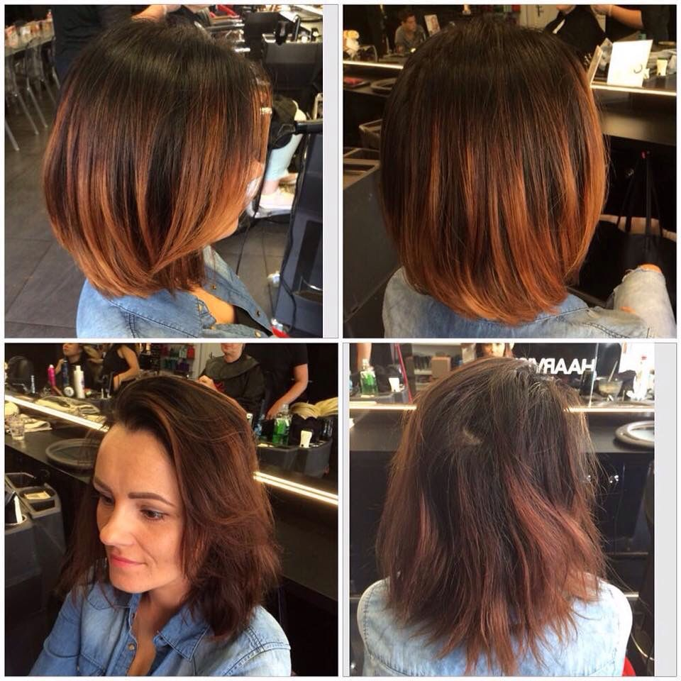 Red Copper Balayage Short Hair Made By Maria Kapsalonhaarvisie Short Hair Balayage Thick Hair Styles Short Hair Styles