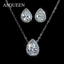 Gold Plated Waterdrop Cut White Sapphire CZ Stud Earrings Necklace Jewelry Set