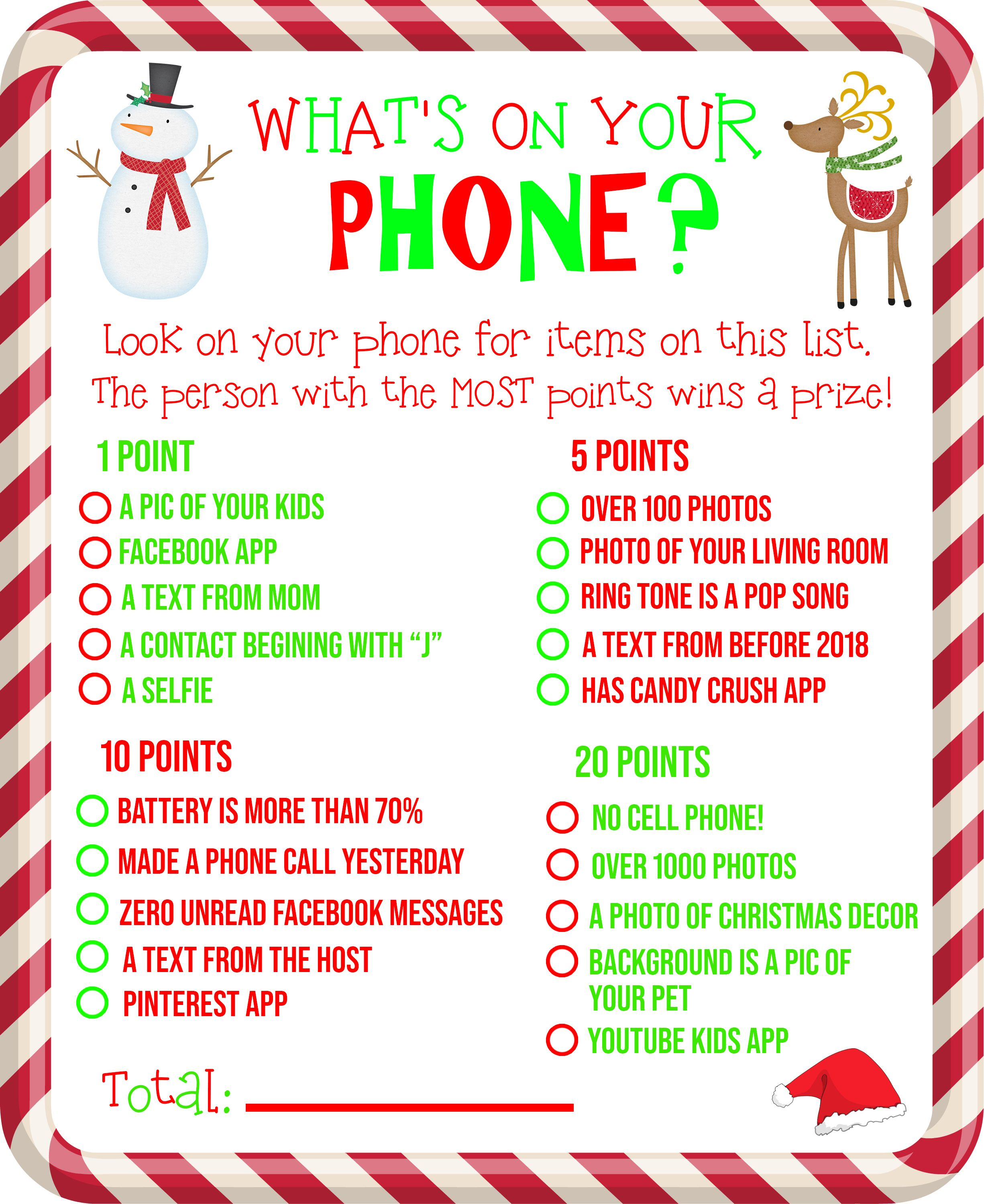 Free Printable What S On Your Phone Christmas Party Game
