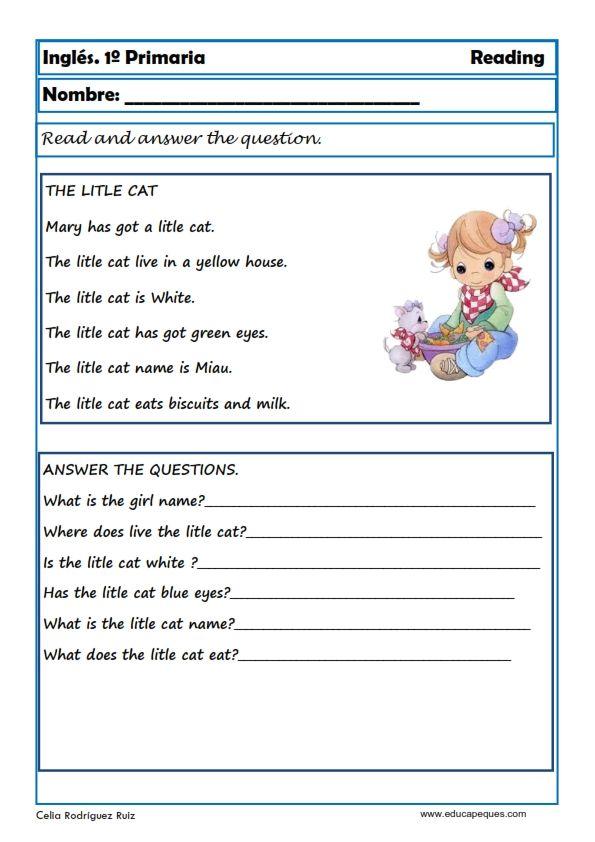Ejercicios De Inglés Reading Y Writting Para Primero De Primaria Temas De Ingles Ejercicios De Ingles Actividades De Comprensión De Lectura