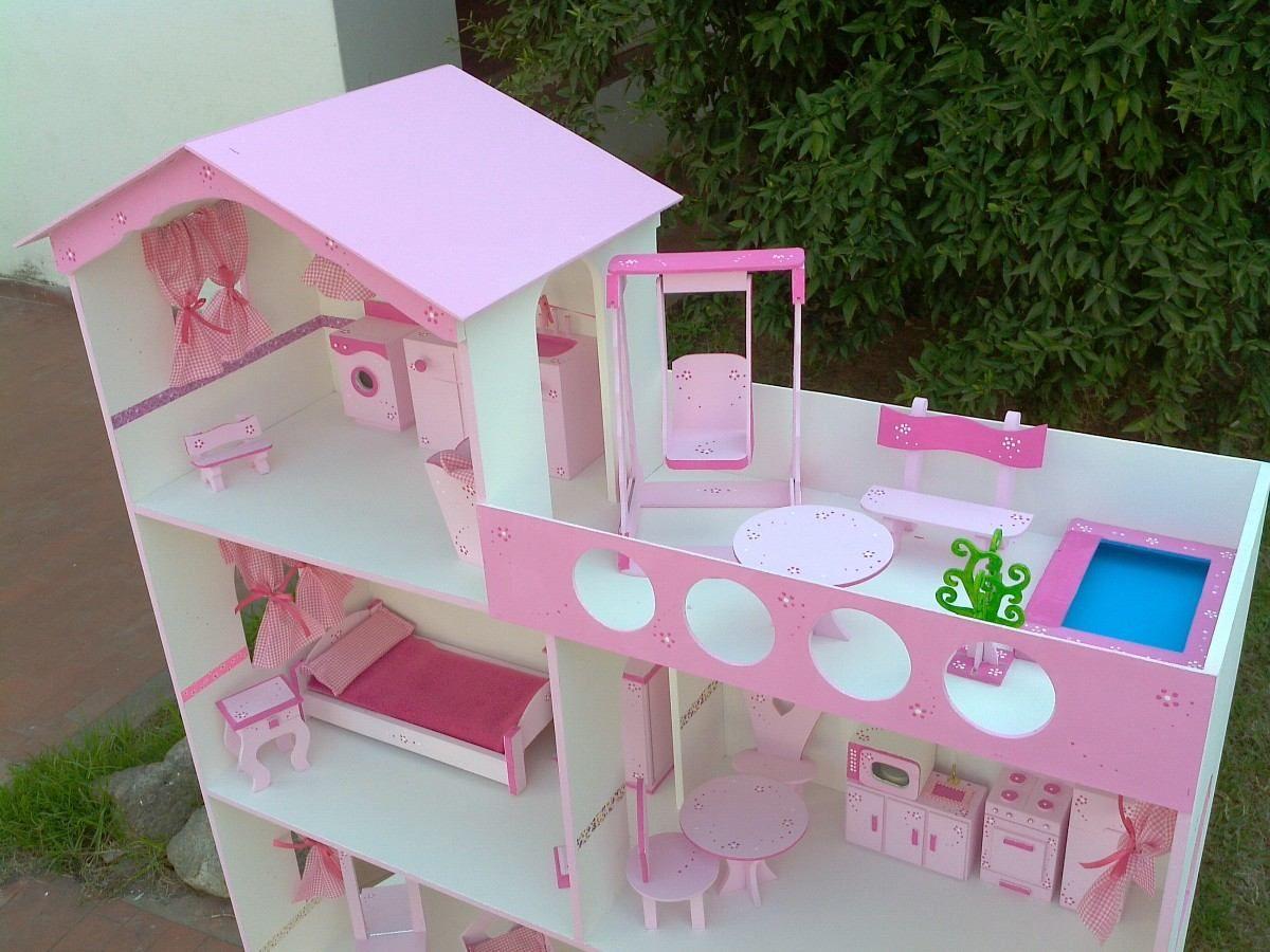 Casita Barbie Xxl 1 40 M C Terraza Piscina Lavadero Y Luz 2 690 00 En Mercadolibre Casa De Barbie Casa De Munecas De Carton Casa De Munecas De Madera