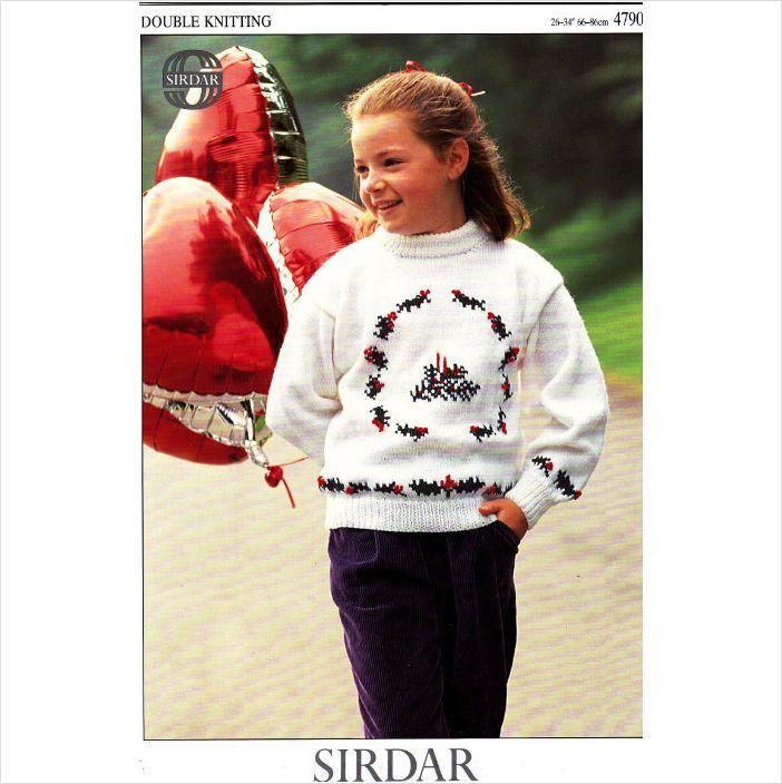 4790 Sirdar Knitting Pattern Christmas Wreath Sweater 26 34 Dk