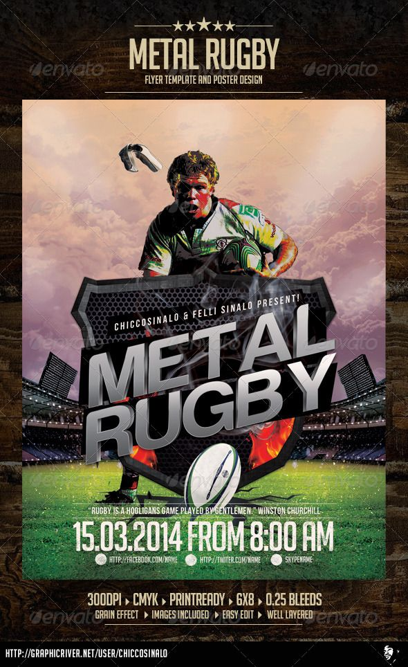 Metal Rugby Flyer Template Flyer template, Rugby and Template - sports flyer template