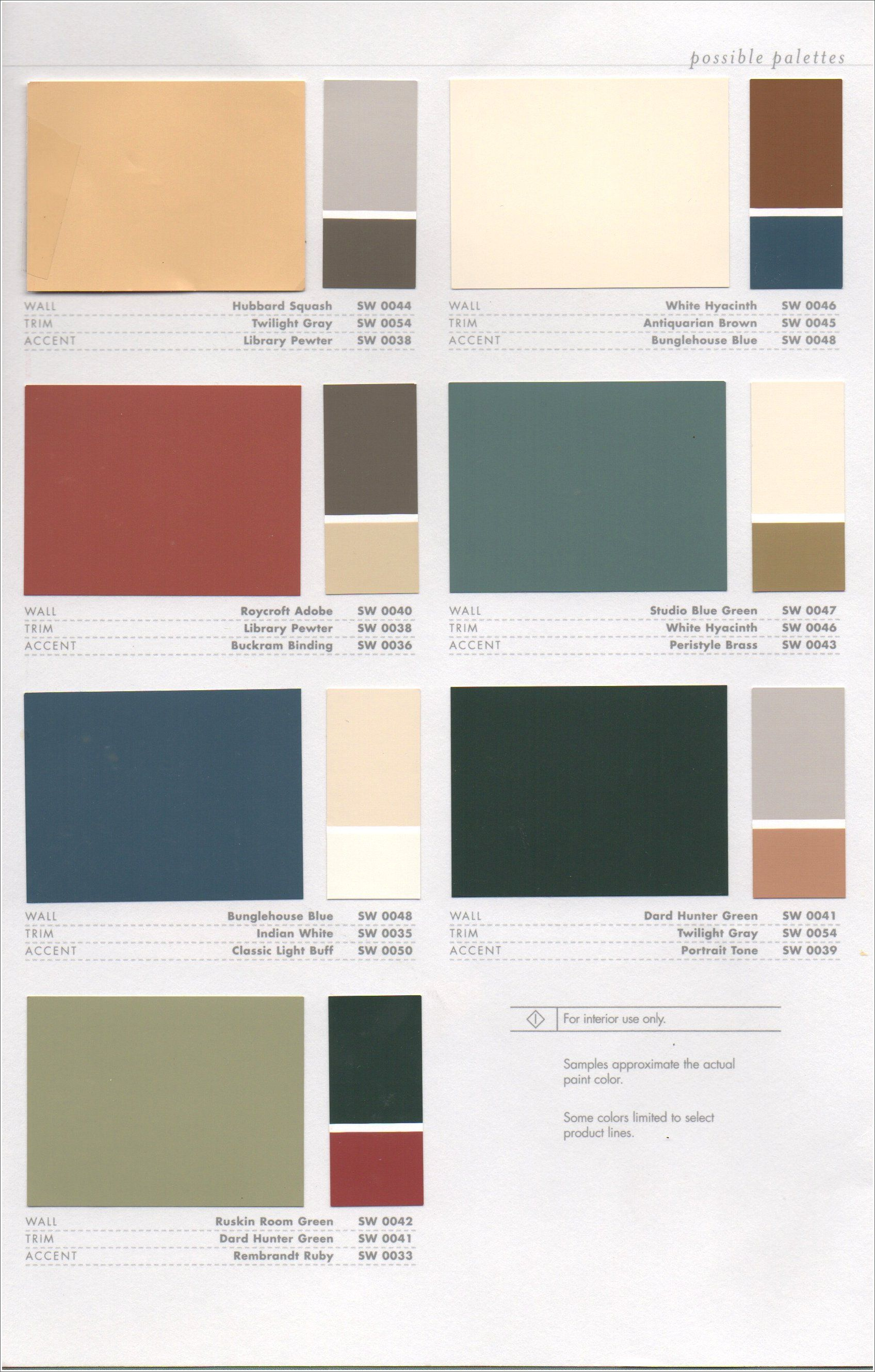 Interior color combos sherwin williams arts and crafts for Color palettes for home interior