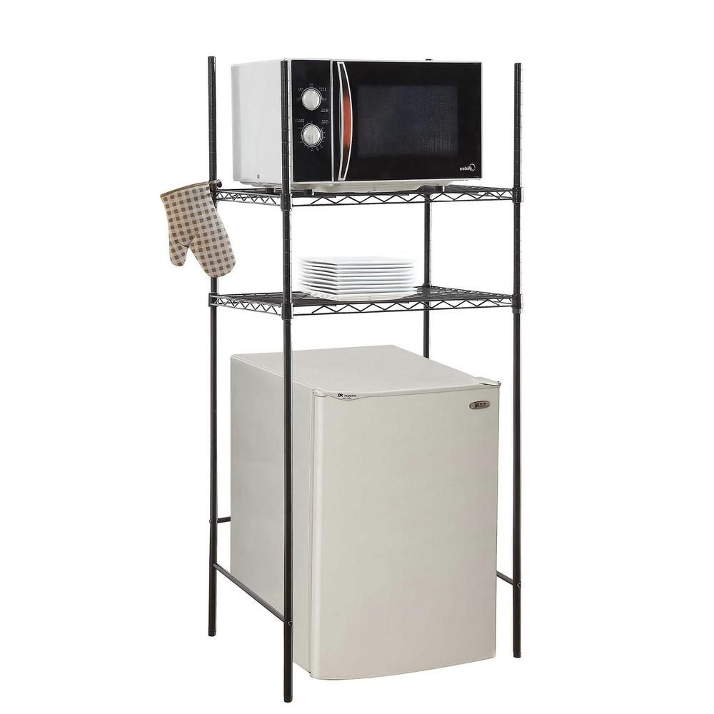 Neu Home 24 In W X 18 In D Black Microwave And Mini Fridge Stand