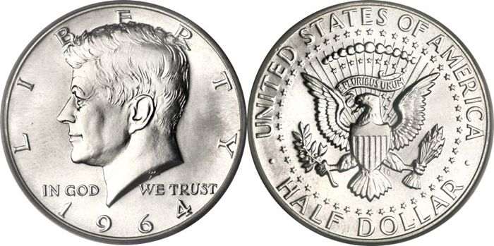 Uncirculated Half Dollar 1964-D Coin GEM Brilliant 50 Cent Kennedy