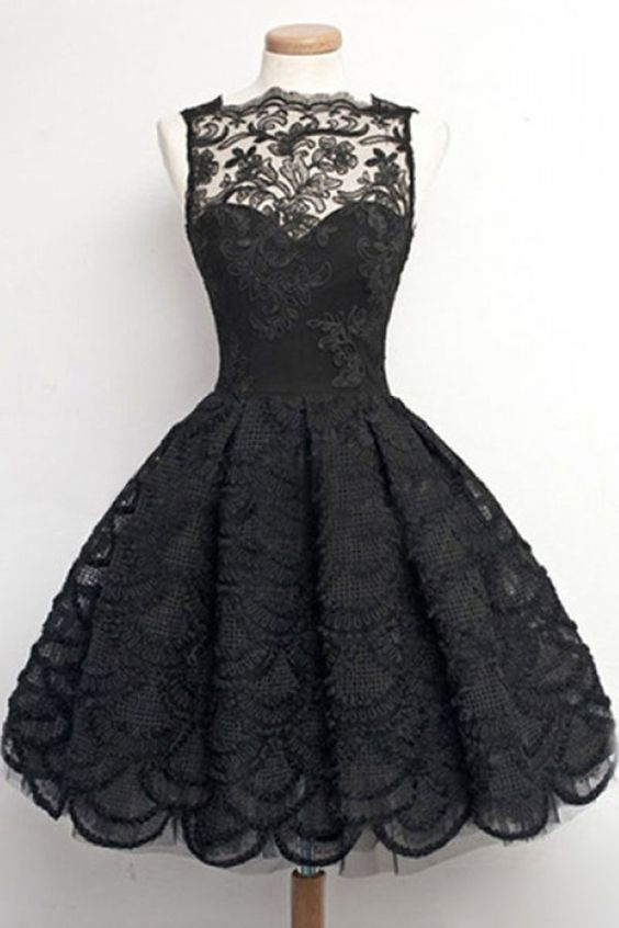 daceeb26b95a9 Vintage, Homecoming/Prom Dress - Black Sheer Neck with Lace , Short Evening  Gowns, 2018 new fashion ,Prom Dresses