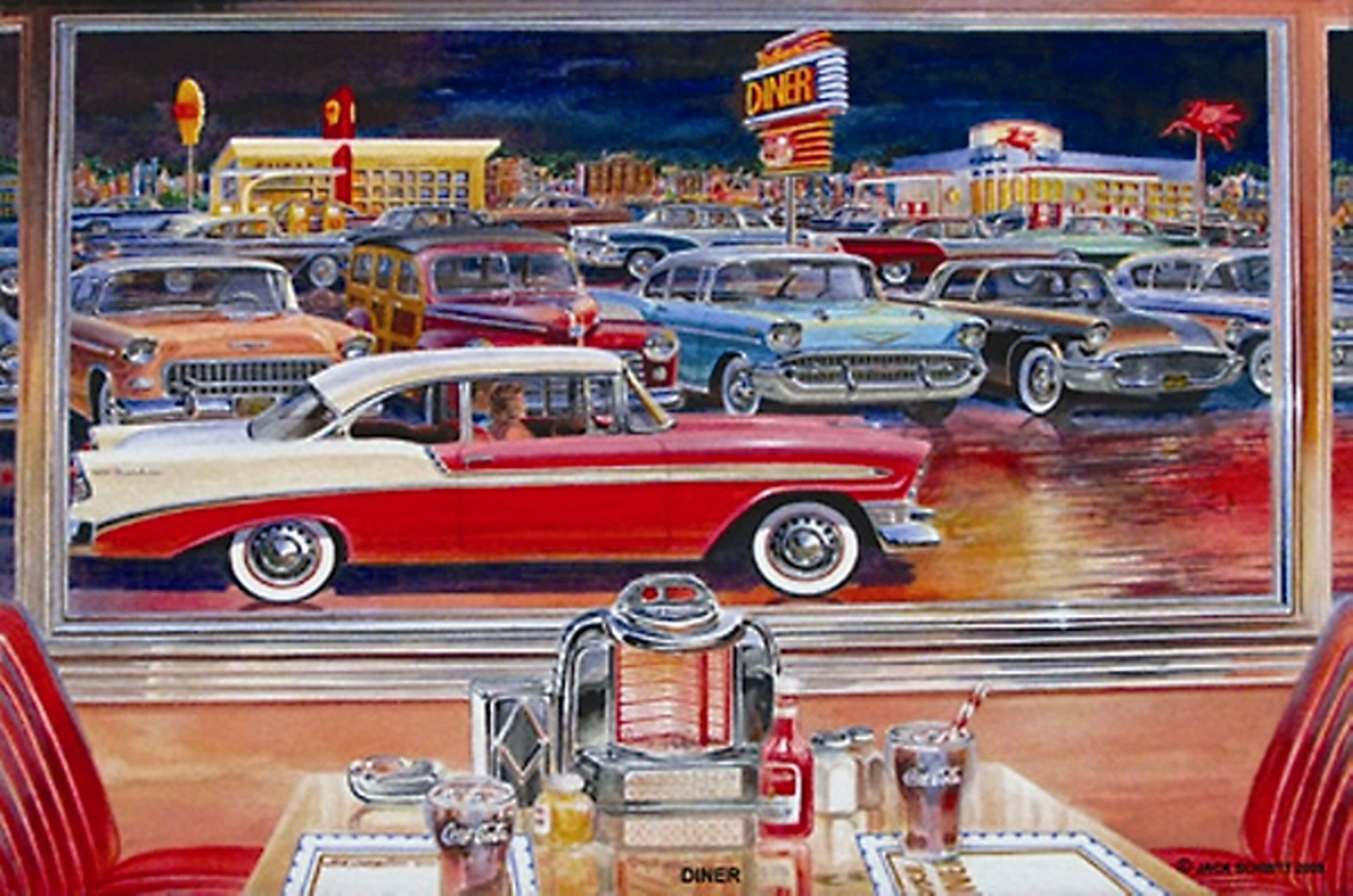 Car paintings of the 60s drive in movies larry grossman for Diner painting