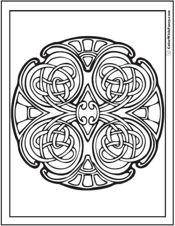 ColorWithFuzzy Celtic Designs Mosaic Coloring