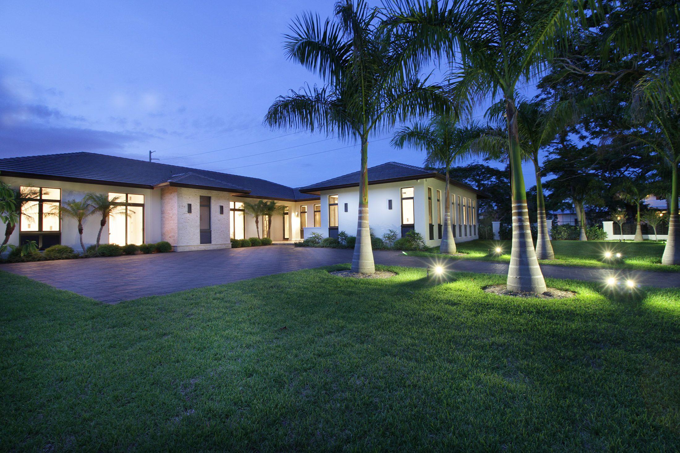 Landscape Lighting Twilight Exterior Photography Impact Windows Transitional Home Facade