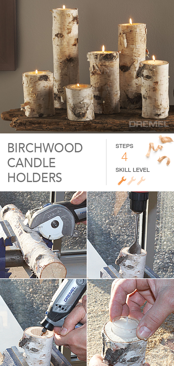 Create these unique birch wood candle holders
