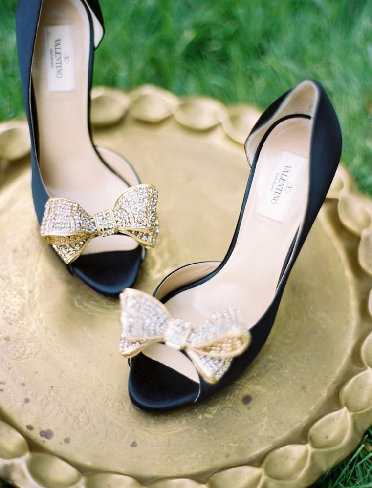 d0d37683a092 Navy and gold bow Valentino shoes. Photo by Ben Q. Photography.  wedding   shoes  navy  gold  bow