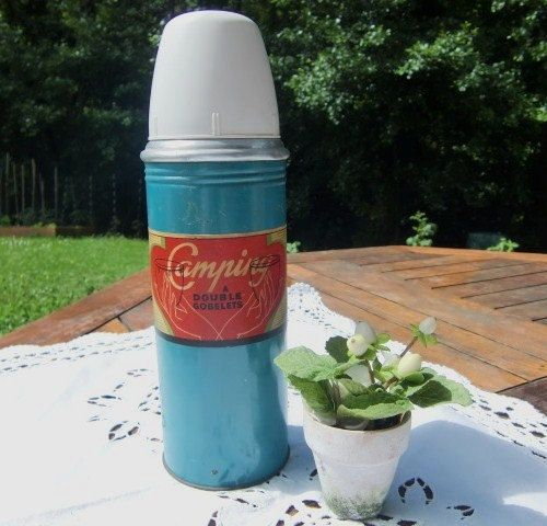 French Vintage thermos for camping  blue by froufrouretro on Etsy, €21.19