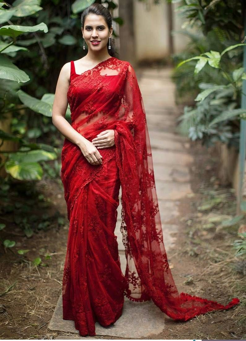db02a2c43eaa0 Buy Red embroidered net saree with blouse Online