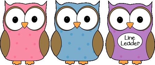 Owl classroom. Line leader clip art
